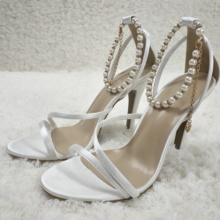 Women Stiletto Thin High Heel Sandal Sexy Pearl Chain Open Toe Ivory Satin Wedding Party Bridals Ball Lady Shoe 5186-9