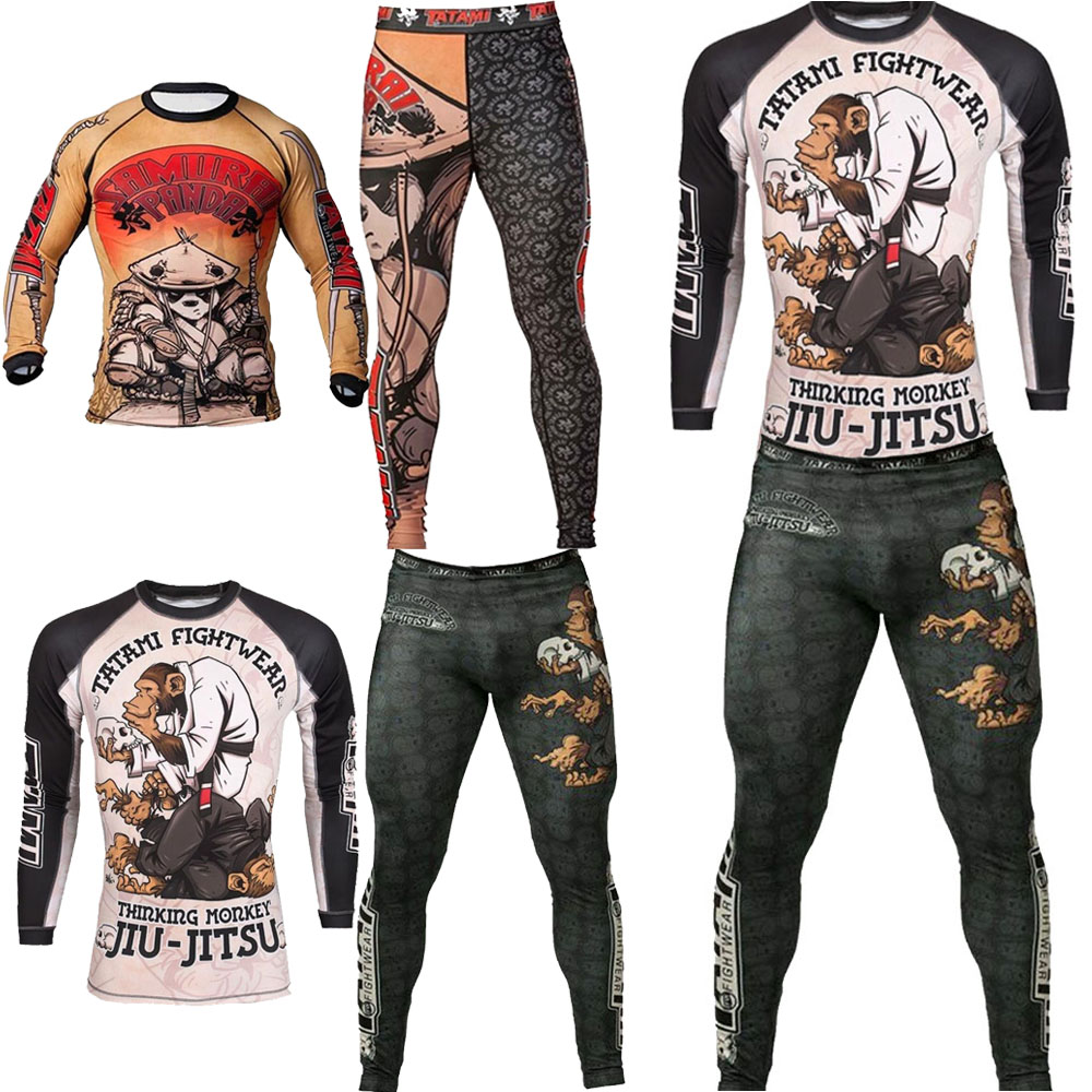 Mma Rashguard Jiu Jitsu T- Shirts Men Boxing Jerseys Set BJJ KickBoxing Muay Thai Long Sleeve Pants 3D Monkey Printing Sportsuit