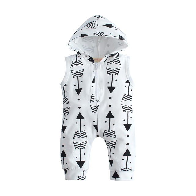66c326001 Summer Cotton Newborn Infant Baby Boys Girls Romper Arrow Cute Zipper White  sleeveless Hoodies Romper Jumpsuit