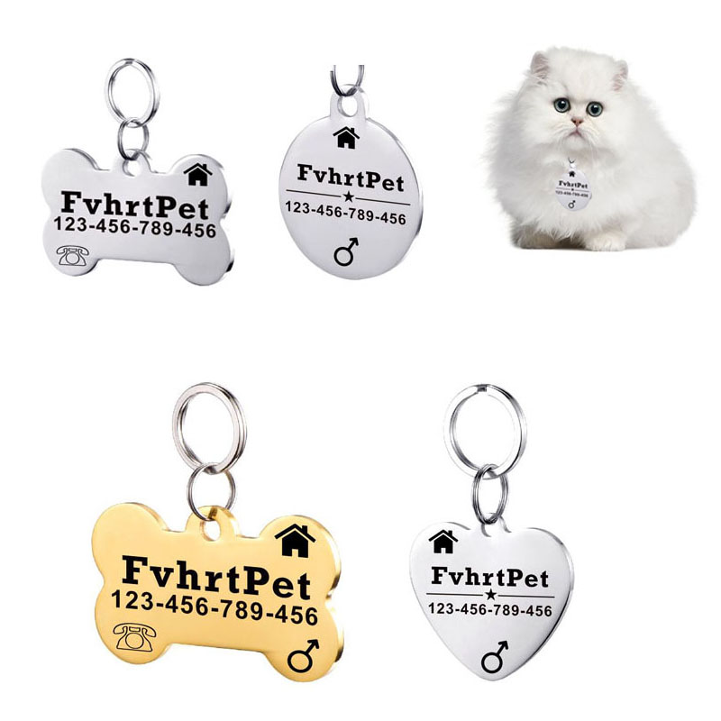 Stainless Steel Cat id Tag for Cat Tag Customized Sex Telephone And Name Tag Pet Supplies Personalized FREE ENGRAVING