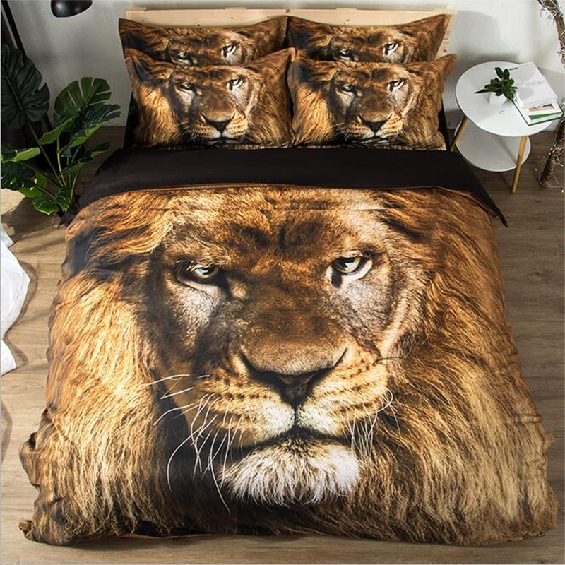Lion 3d Animal Print Bedding Set Twin Queen King Size Duvet Cover Bed Sheet with Pillowcase Modern Room Decor Textile SetsLion 3d Animal Print Bedding Set Twin Queen King Size Duvet Cover Bed Sheet with Pillowcase Modern Room Decor Textile Sets