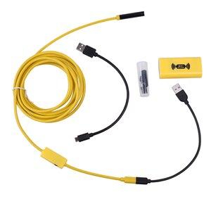 Image 2 - WiFi אלחוטי אנדוסקופ Borescope עמיד למים 2.0 מגה פיקסל HD מצלמה 2M 5M 7M 10M צהוב נחש נוקשה חוט 8mm 6 מתכוונן LED