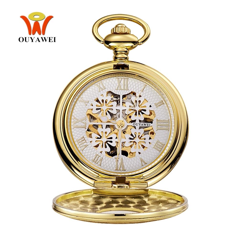Top Brand Fashion Luxury OYW Mechanical Hand Wind Pocket Watch Men Pendant Watch Full Steel Case Chain Pocket Fob Watch Relogio