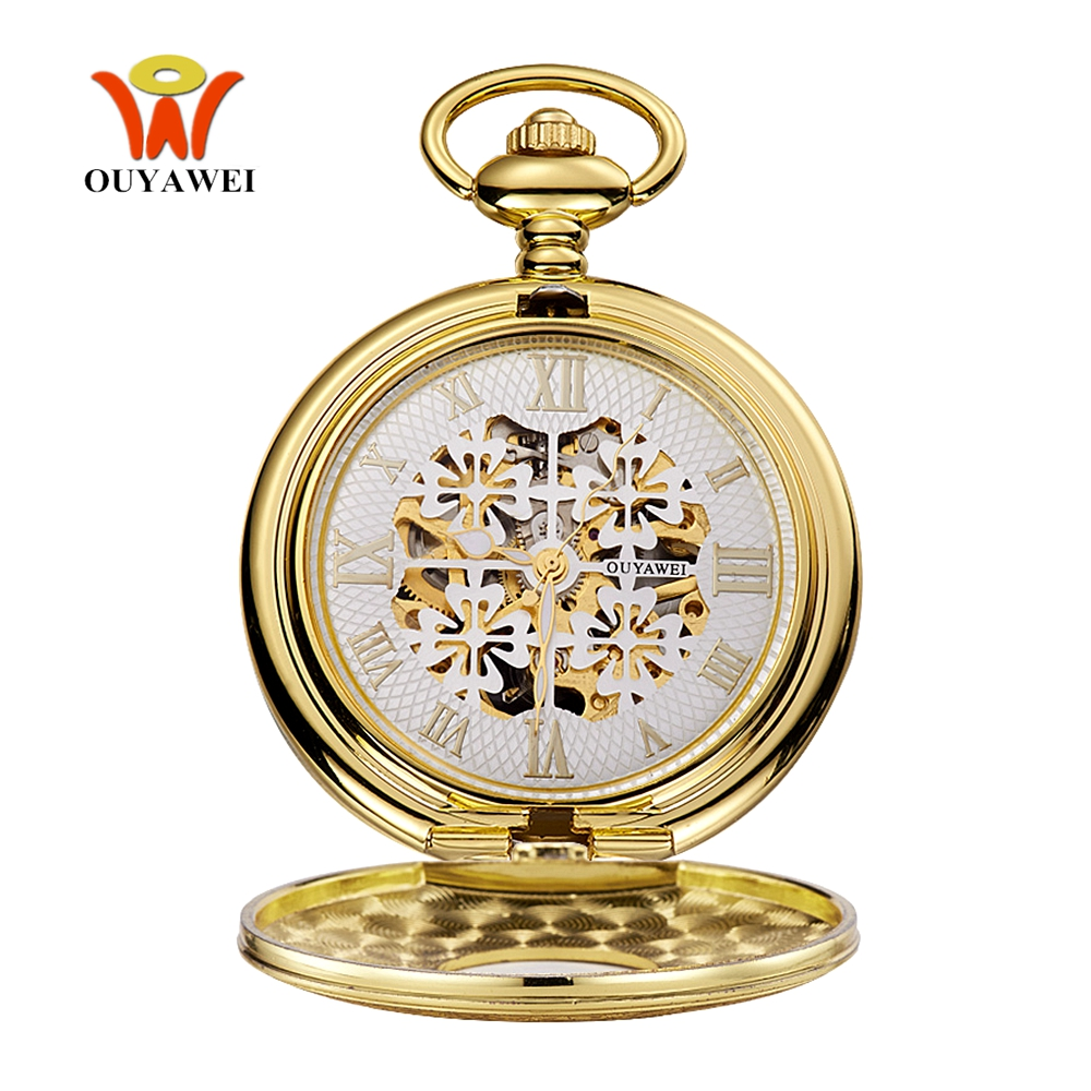 Top Brand Fashion Luxury OYW Mechanical Hand Wind Pocket Watch Men Pendant Watch Full Steel Case Chain Pocket Fob Watch Relogio ouyawei mechanical hand wind 12 24 hour sun moon fob chain men women roman numeral gold pocket watch necklace gift pendant clock