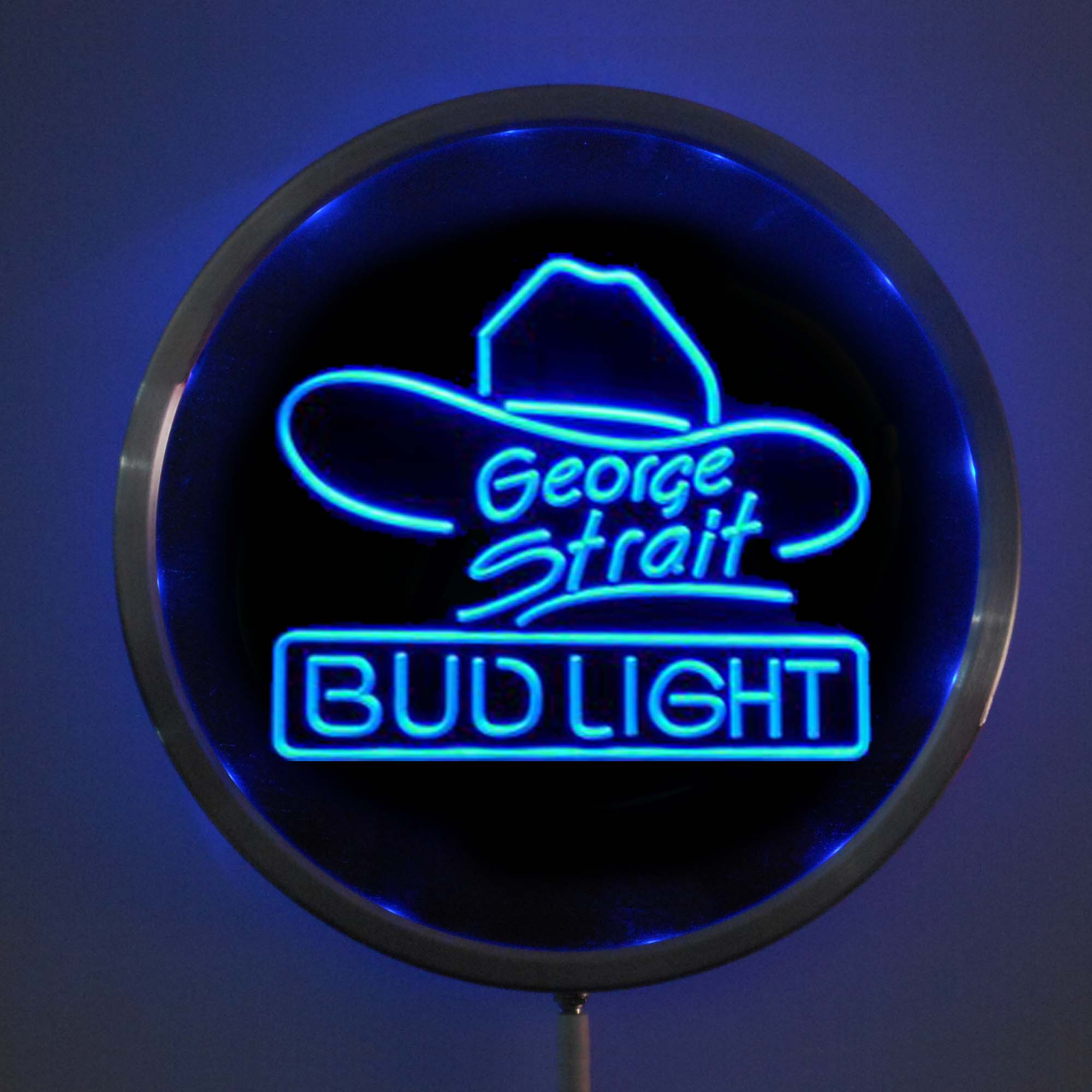 rs-a0116 Bud <font><b>Light</b></font> George Strait LED Neon Round Signs 25cm/ 10 Inch - Bar Sign with RGB Multi-Color Remote Wireless Control