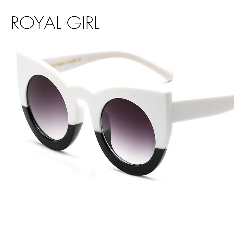 ROYAL GIRL Sonnenbrille Frauen Markendesigner Cat Eye Großen Rahmen Spiegel Brille oculos lentes de gato lentes de sol