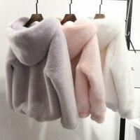 Winter Faux Mink Fur Coat Long Lantern Sleeved Women Fur Hooded Zipper Warm Fur Flocking Cardigan Tops Fluffy Jacket With Hat