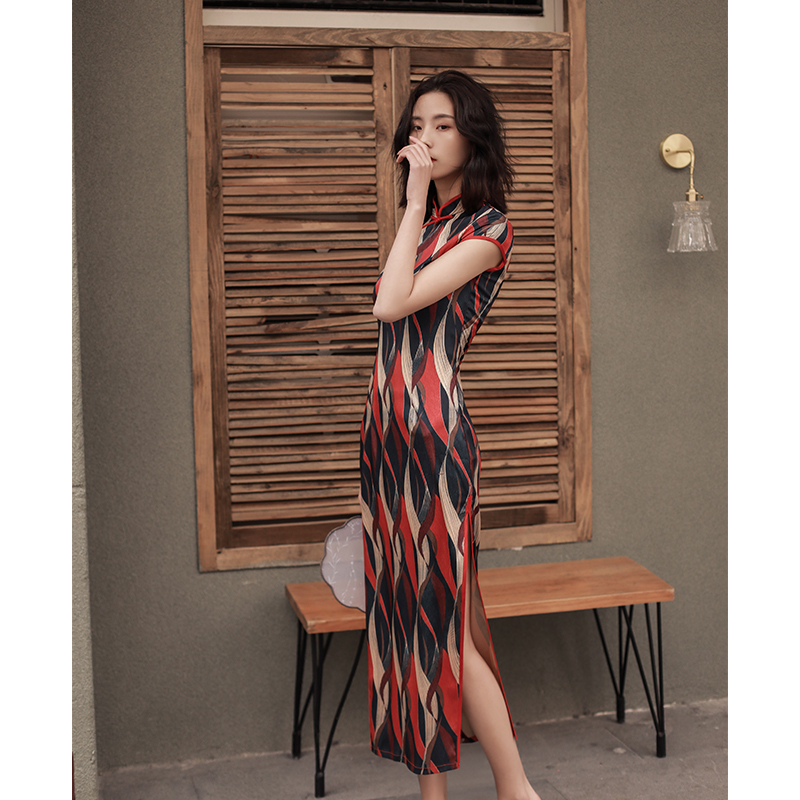 2019 New Arrival Elegant Traditional Chinese Dress Women s Long slit Cheongsam Fashion Rayon Dress Slim