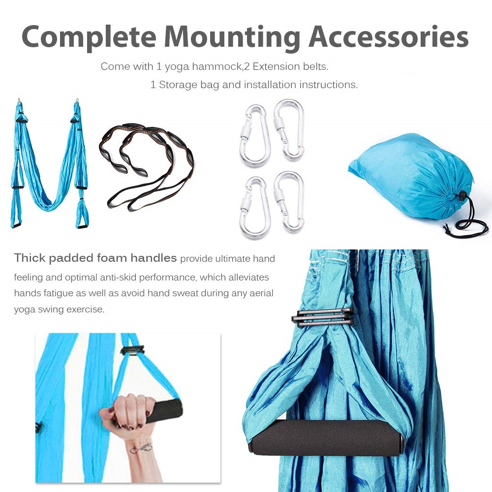 Image 4 - Anti gravity Aerial Yoga Hammock Set Multifunction Yoga Belt Flying Yoga Inversion Tool for Pilates Body Shaping with Carry Bag-in Yoga Belts from Sports & Entertainment