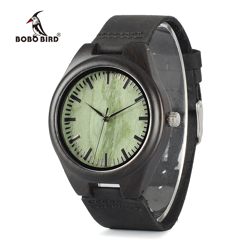 BOBO BIRD WF03 Ebony Wood Watches With Green Wood Face Real Leather Band Mens Top Brand Designer Quartz Watch in Wooden Box bobo bird i26 mens unique ebony wooden watches deer head dial casual quartz wrist watches with wood links in gift watch box