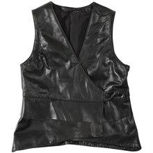 Осенние кожаные жилет Женская мода короткий ремень кожаный жилет Меховая куртка из натурального меха кожаная куртка Для женщин из натуральной кожи