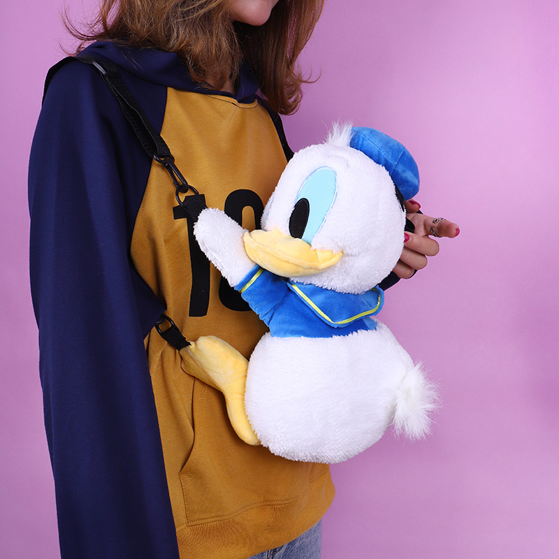 1pc 36cm Cartoon Cute Sweet Donald Duck Plush Doll Messenger Bag Travel Phone Bag Backpack Stuffed Toy Girl Lady Gift