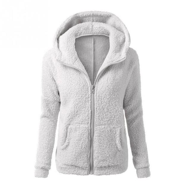 59eee22c55753 Women Hoodie Patchwork Coat Autumn Winter Jacket Zipper Outwear Long Sleeve  Hoodies Plush coat