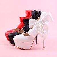 Super hoge hakken met fijne witte trouwschoenen Rode Boog Schoenen Zwarte Parel bruid ronde waterdichte Taiwan vrouwen schoen