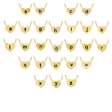 a b c d e f g h i j k l m n o p q r s t u v w x y z Stainless Steel Heart Shape Custom Name Necklaces for Women Men Gold Color(China)
