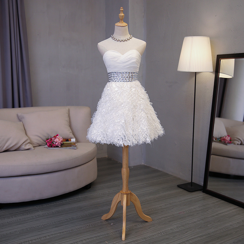 White Cocktail Dress Short Mini  Cocktail Dresses 2018 Evening Party Beaded  Above Knee Mini Sweetheart Sleeveless Formal Gown
