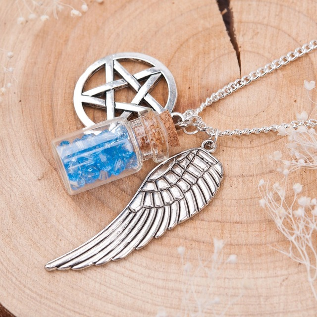 Handmade Supernatural Pentacle Angel Wings Wishing Bottle Guardian Series Silver Pendant & Necklace