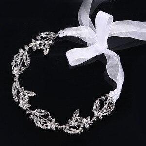 Классические кружевные Стразы с кристаллами, Мягкая повязка на голову, цепочка на голову для невесты, свадебные украшения для волос, аксесс...