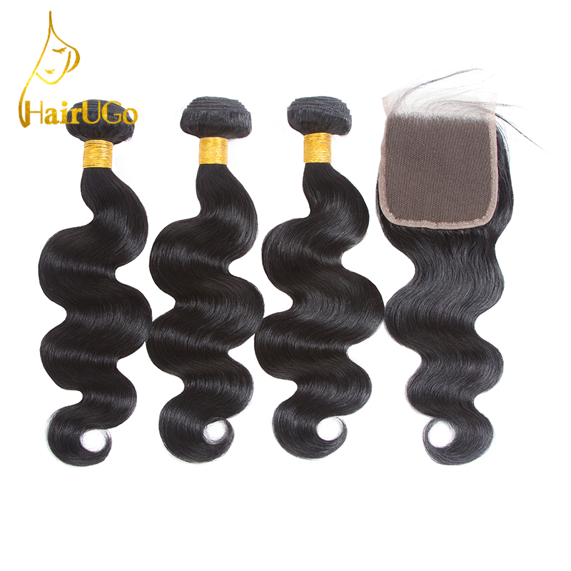 HairUGo Hair 100% Peruvian Body wave Human Hair Bundles with Closure Non-Remy 8-26inch Hair Extension 3 bundles with Closure