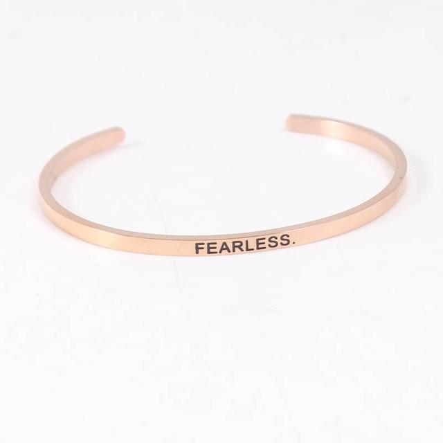 Rose Gold Stainless Steel Engraved Fearless Bracelet Mantra Bangles For Women Men Friends Family