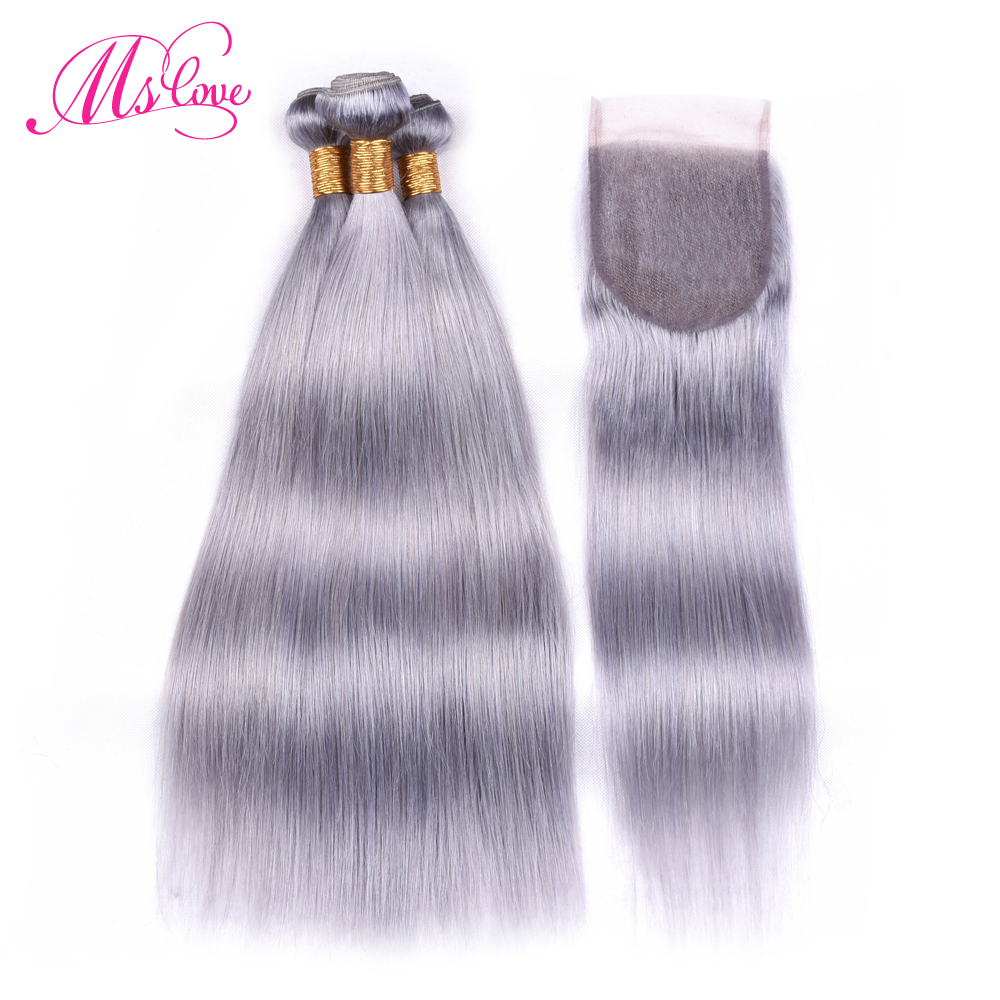 Ms Love Silver Grey Bundles With Closure Remy Brazilian Straight Hair With Closure Human Hair Bundles With Lace Closure 4*4