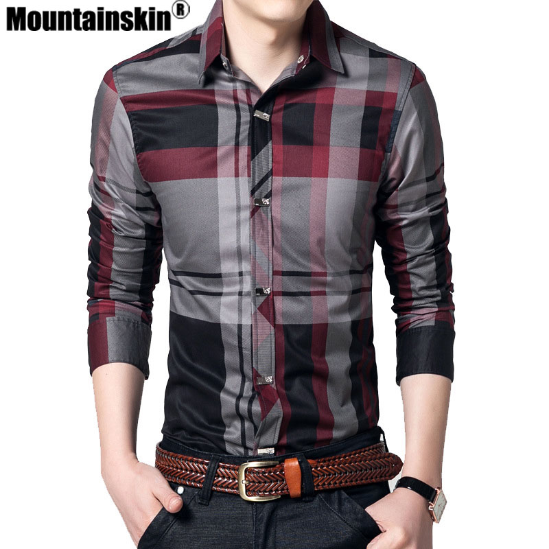 Mountainskin Striped Men's Shirts 4XL 100% Cotton Business Men Shirts Long Sleeve Brand Casual Men's Clothing Slim Fit SEA144