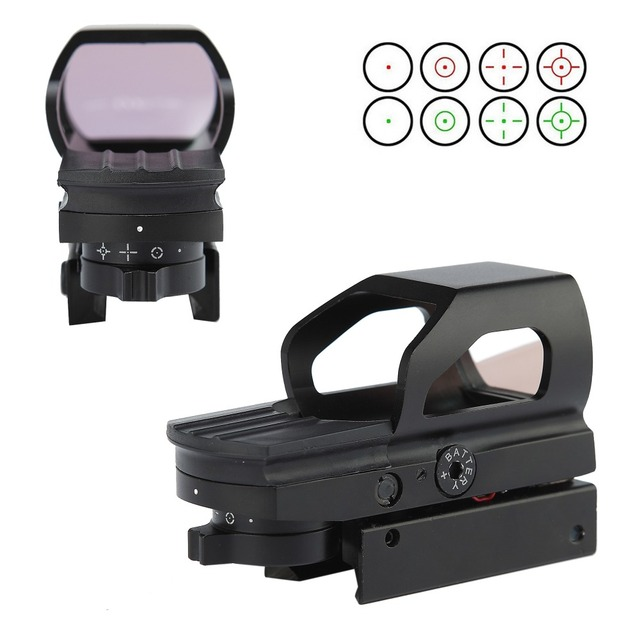Tactical Aluminum Alloy Red Green Reflex Dot Sight 1X Magnification 4 Reticle Patterns Hunting Dot Sight Scope 20mm Rails Mount.