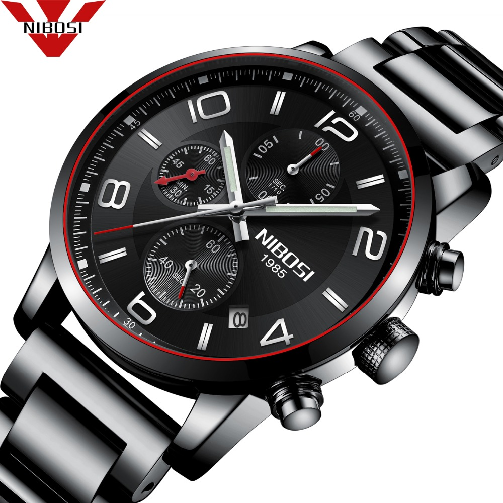 NIBOSI 2018 New Luxury Watch Fashion Stainless Steel Watch for Man Quartz Analog Wrist Watch kaladia 8911 pu strap analog quartz sport wrist watch for man
