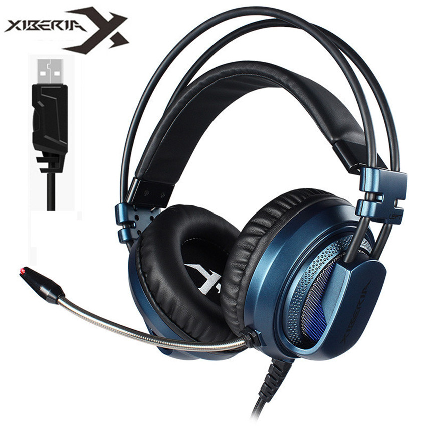 Xiberia Professional PC Gaming Headset USB 7.1 Sound Over Ear Computer Game Headphones Bass Casque with Mic Breathing led Light xiberia k10 over ear gaming headset usb computer stereo heavy bass game headphones with microphone led light for pc gamer