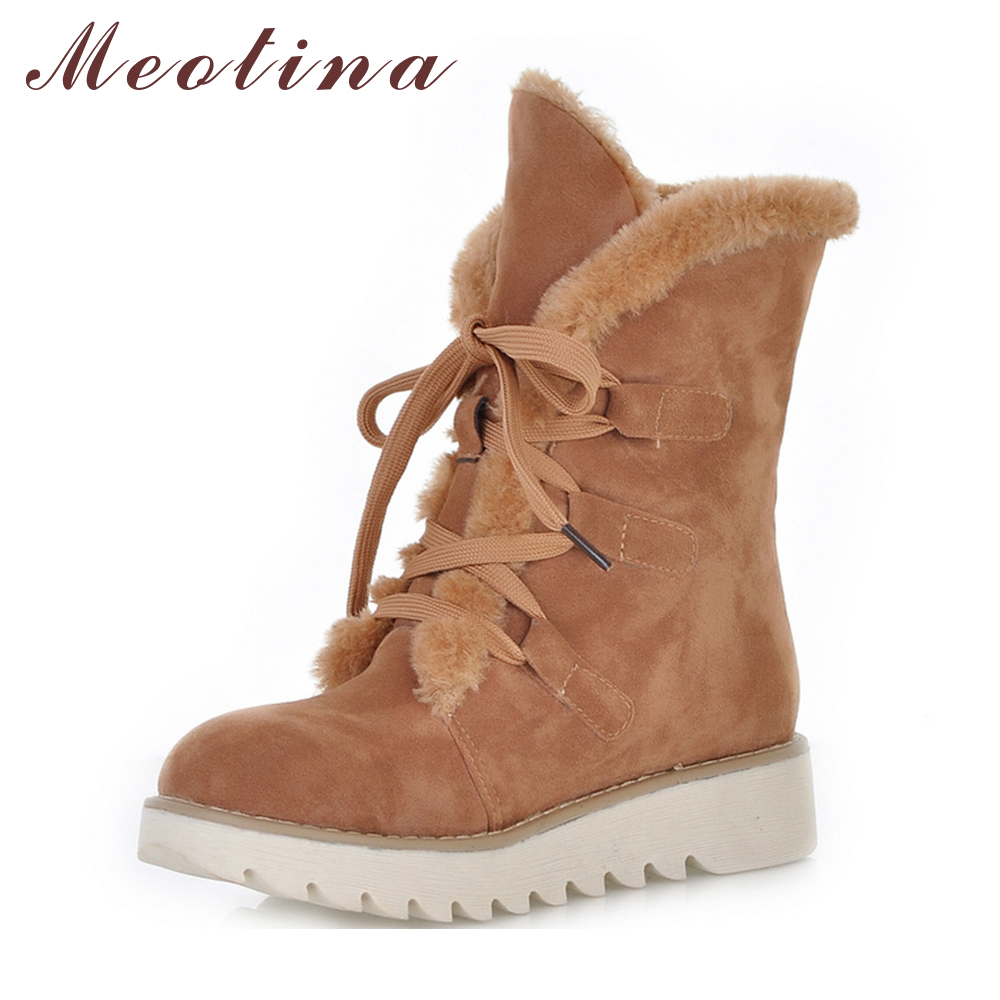Meotina Women Boots Australia Boots Women Winter Flat Ankle Snow Boots 2018 Female Lace Up Flock Fur Short Shoes Big Size 10.5