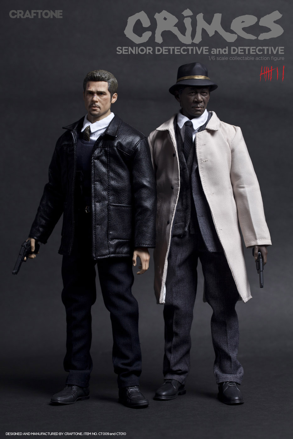 1/6th collectible figure doll Se7en Detective Morgan Freeman & Brad Pitt 12 action figure doll price for one. not include chair 1 6th collectible figure doll se7en detective morgan freeman