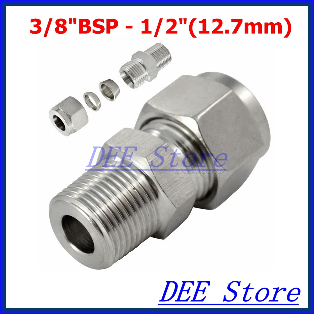 2PCS 3/8BSP x 1/2(12.7mm) Double Ferrule Tube Pipe Fittings Threaded Male Connector Stainless Steel SS 304 New Good Quality brand new brand new 2 x1 2 x2 female tee threaded reducer pipe fittings f f f stainless steel ss304 new high quality