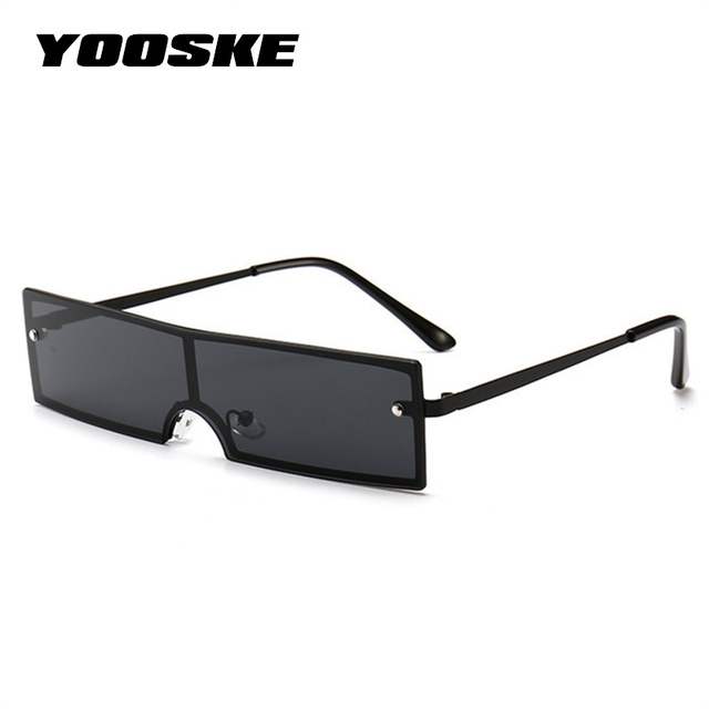 YOOSKE 90S Retangular Óculos De Sol Das Mulheres 2018 Marca Designer Quadro Pequenos Óculos de Sol Do Metal Do Vintage Fêmea Magro Gato Olho Óculos