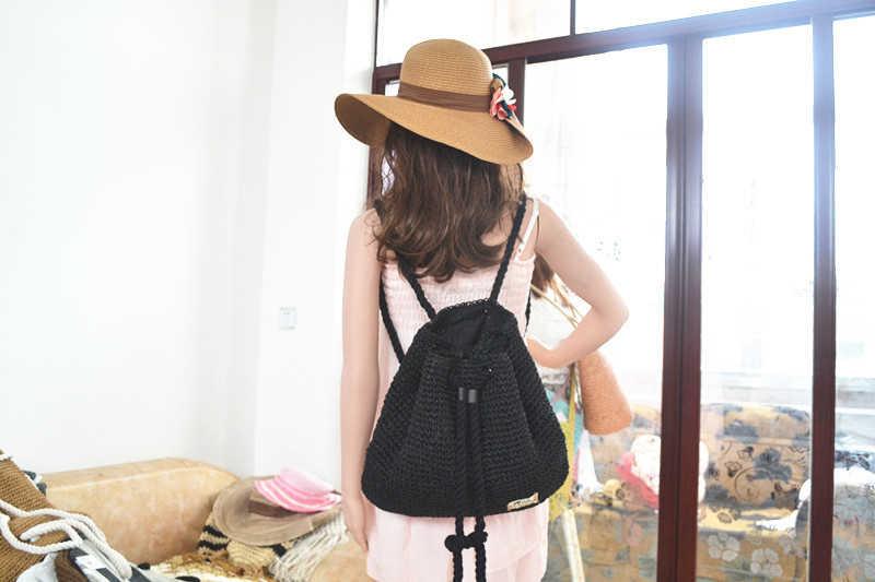 35x31 см 2016 летний модный школьный рюкзак, соломенная сумка, туристический пляж, хлопковый рюкзак с веревкой, A2371
