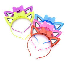 Led Headband For Kids Cute Pointed Cat Ears Hair Hoop Glowing/Flashing Hairband Light Up Toys Head Wear Wedding Party Supplies(China)