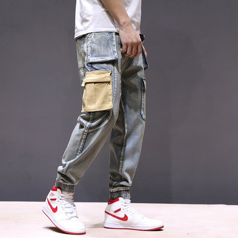 Spring and Summer 2019 Korean Edition Fashion Workwear   Jeans   Men's Big Pocket Bottom Trousers MW311