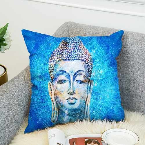 Bohemia Mandala 3D Print Buddha Lotus Polyester Throw Pillow Case Art Cushion Cover Blue Galaxy Soft Car Decorative Pillowcase