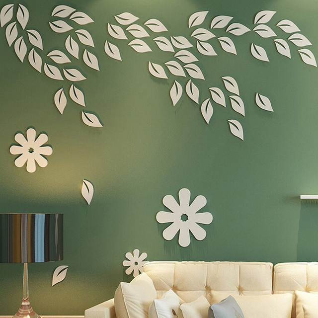6pcs 3d wooden fall leaves wall murals removable wall sticker