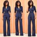Verão outono primavera jumpsuit Calças Compridas Dot Macacão Bodysuits Moda V Neck Belt Embellished das Mulheres Senhora Elegante do Desgaste do Trabalho