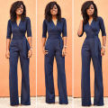 summer fall spring jumpsuit Long Pants Dot Overalls Women's Fashion V Neck Belt Embellished  Bodysuits Elegant Lady Work Wear