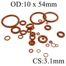 3,1 мм Толщина силиконовой резины о-образное кольцо 10-54 мм OD красная теплостойкость уплотнительное кольцо уплотнительные прокладки
