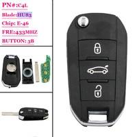 (1 adet) yedek Yeni 3 DÜĞME Çevirme Uzaktan Araba Anahtarı Fob hu83 433 MHz ID46 için Peugeot 208 308 508 3008 5008