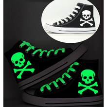 New Luminous Glow in the Dark Skull Canvas Shoes