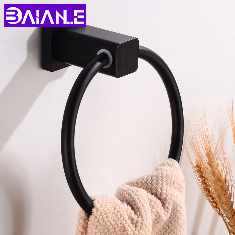 Towel Ring Holder Wall Mounted Bathroom Towel Rack Aluminum Decorative Round Towel Bar Black Clothes Rack Bathroom AccessoriesTowel Ring Holder Wall Mounted Bathroom Towel Rack Aluminum Decorative Round Towel Bar Black Clothes Rack Bathroom Accessories