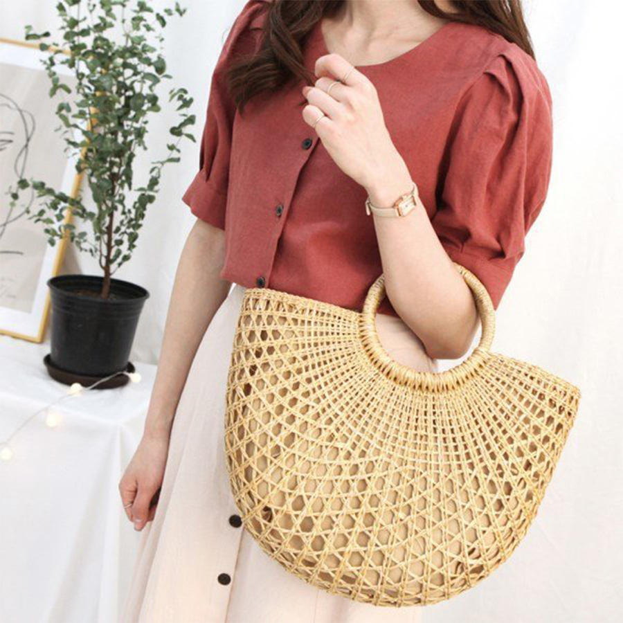 Summer Handmade Straw Bag Hollow Bohemian Beach Bags Women Handbag Fashion Casual Women Tote Rattan Shopping Basket Girls Bolsa цена