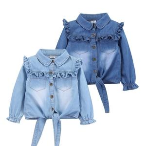 Image 1 - מזדמן תינוק בנות ינס חולצות ארוך שרוול רך ילדי ג ינס חולצה כותנה ילדים של ג ינס צמרות תלבושות 2 8 שנים