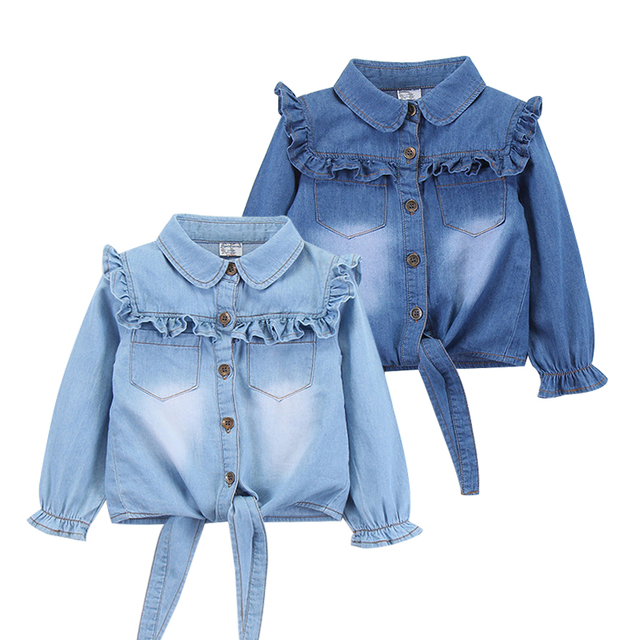 מזדמן תינוק בנות ינס חולצות ארוך שרוול רך ילדי ג ינס חולצה כותנה ילדים של ג ינס צמרות תלבושות 2 8 שנים
