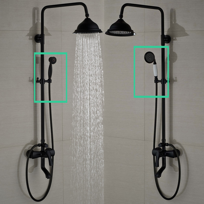Oil Rubbed Bronze Shower Faucet System Wall Mounted 8 Rainfall Bath Shower Mixers with Handshower
