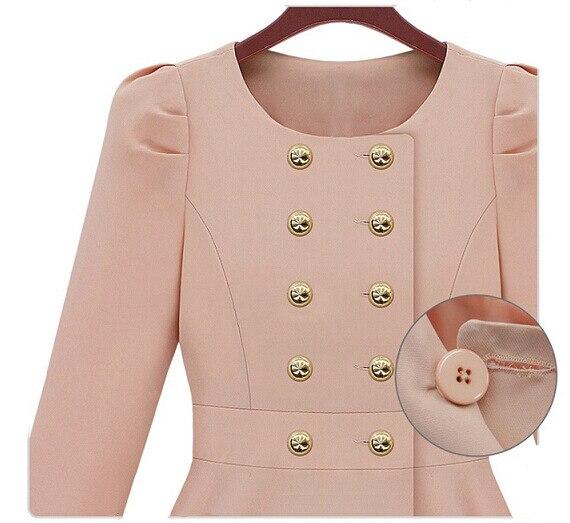 Trench Bleu Automne Breasted vent Mode Élégant Manteau Slim Printemps Double Longues Pardessus Coupe 2018 Femmes De Longue Manches rose Femelle w4xptU