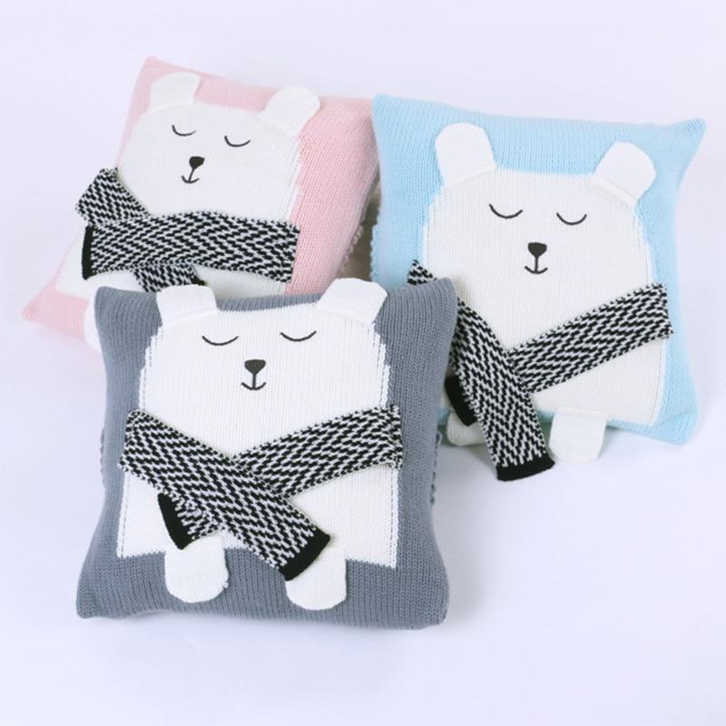 Baby Pillow Knit Cushion 3D Bear Cute Newborn Sleep Appease Toys Knitted Car Sofa Decorative Cushions Children Decoration Room